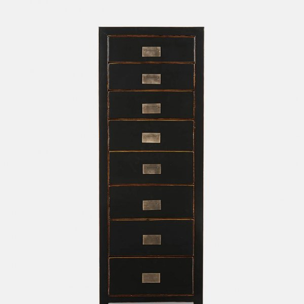 Oriental style 'Tsang' Tallboy with 8 drawers; Black with a shiny water-lacquered finish. From The Vintage Garden Room