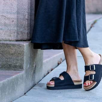 'Patricia' Sandals Black by Shepherd of Sweden