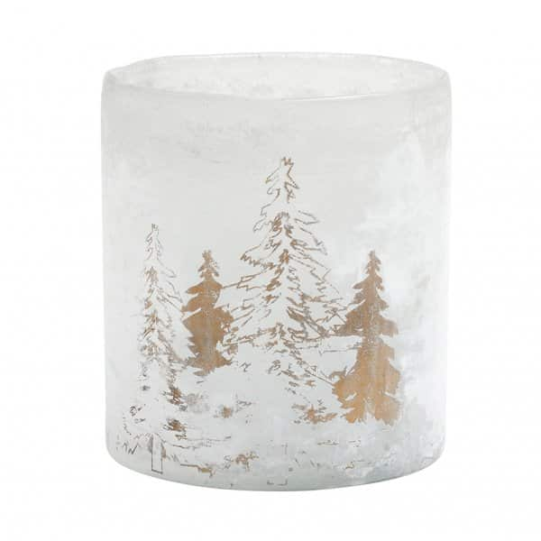 'Pine Tree' Glass Candle Votive / Pot in White Glass. By PTMD Collection®