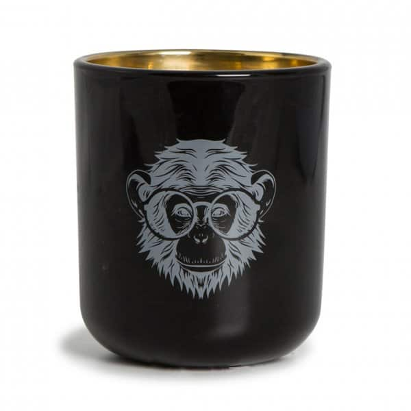'Pozzi Black Monkey' Soy wax scented Candle in a tastefully printed black Glass pot. 'Victorian Candles' ByON