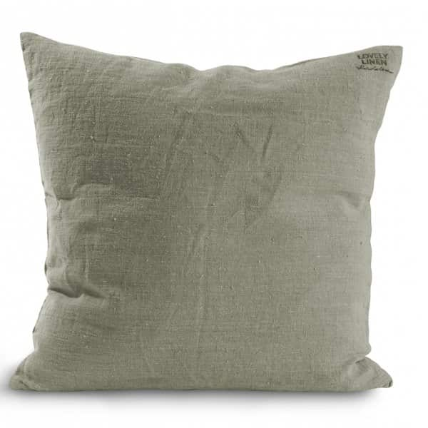Pure Linen Cushion, with a Duck down filling, in Avocado. By Lovely Linen of Sweden