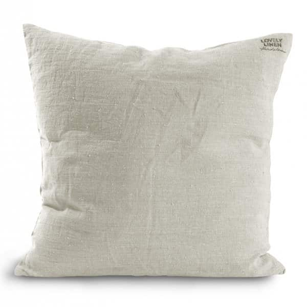 Pure Linen Cushion, with a Duck down filling (optional), in Light Grey. By Lovely Linen of Sweden