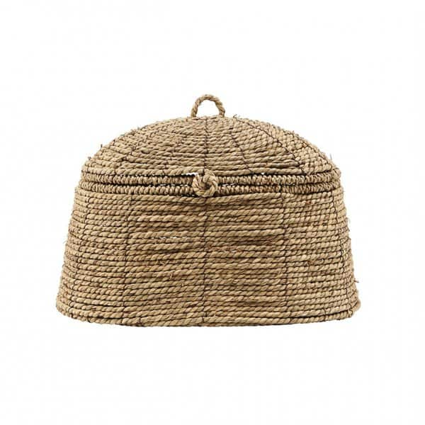 'Rama' braided Basket with Lid, made from Seagrass & Metal, presented naturally. By House Doctor of Denmark