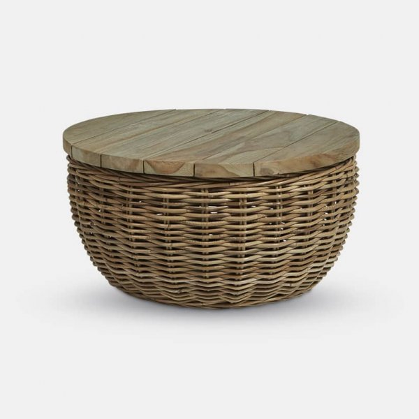 Rattan Coffee Table, made from Wicker, and presented in Natural / Antibes. From The Vintage Garden Room