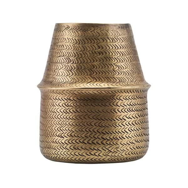 'Rattan' Planter with a beautiful pattern, made from Aluminium, presented in Brass. By House Doctor