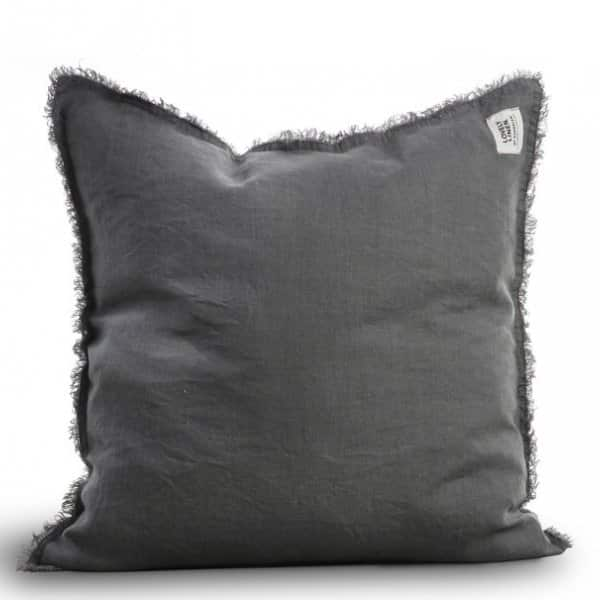 'Raw Edge' pure Linen Cushion in Misty Dawn (Dark Grey). By Lovely Linen of Sweden