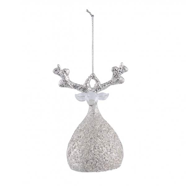 'Rhys' Christmas Deer, Sparkling Silver hanging decoration, made from Glass. By PTMD Collection®