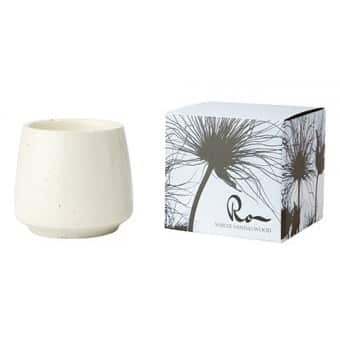 'RO' Soy Wax Scented Candle, in a Ceramic Pot, scented with White Sandalwood. By Affari of Sweden