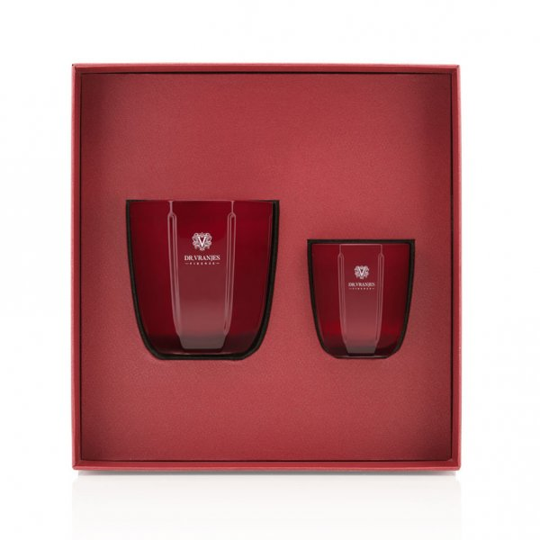 Rosso Nobile Gift Box with an 80g + a 200g scented candle, in a Gift Box, with a Greeting Card. From Dr. Vranjes Firenze