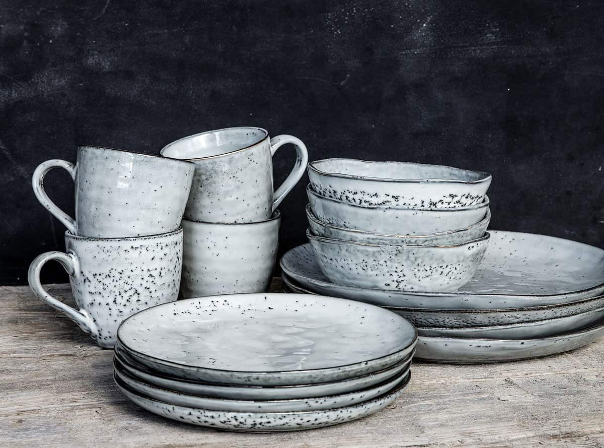 Rustic Cake Plate Made From Ceramic And Presented In Grey Blue By House Doctor No 64 The Biscuit House