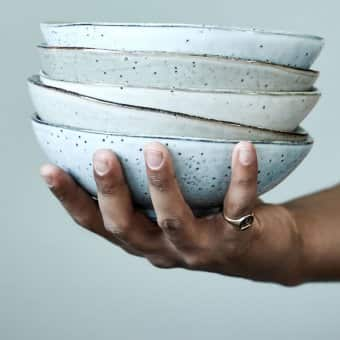 'Rustic' Ceramic Bowl range, in Grey / Blue