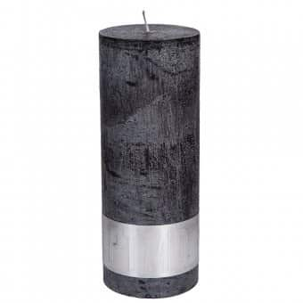 Rustic 'Charcoal Black' unscented Pillar Candle. By PTMD Collection®