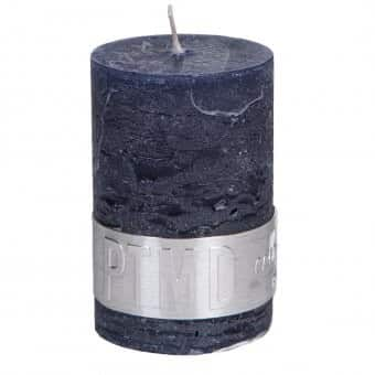 Rustic 'Night Blue' unscented Pillar Candle. By PTMD Collection®