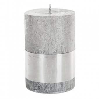 Rustic 'Silver' Pillar Candle. By PTMD Collection®