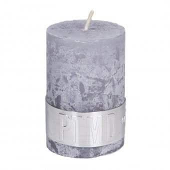 Rustic 'Suede Grey' unscented Pillar Candle. By PTMD Collection®