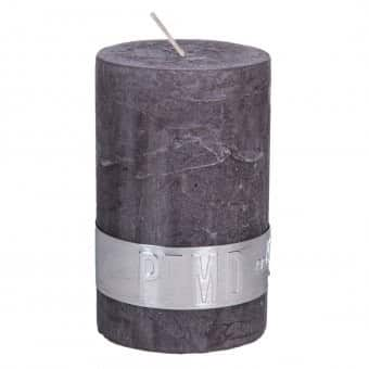 Rustic 'Swish Grey' unscented Pillar Candle. By PTMD Collection®