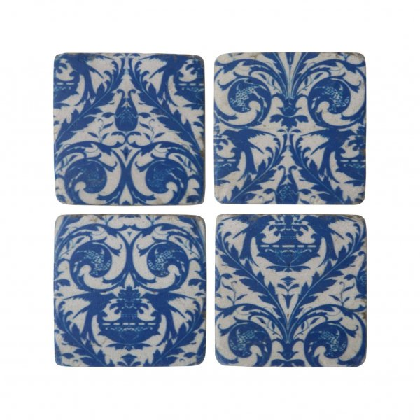 S/4 'Santorini' Coasters, with ceramic weight and feel, are presented in Blue/White, with Cork backing. By London Ornaments