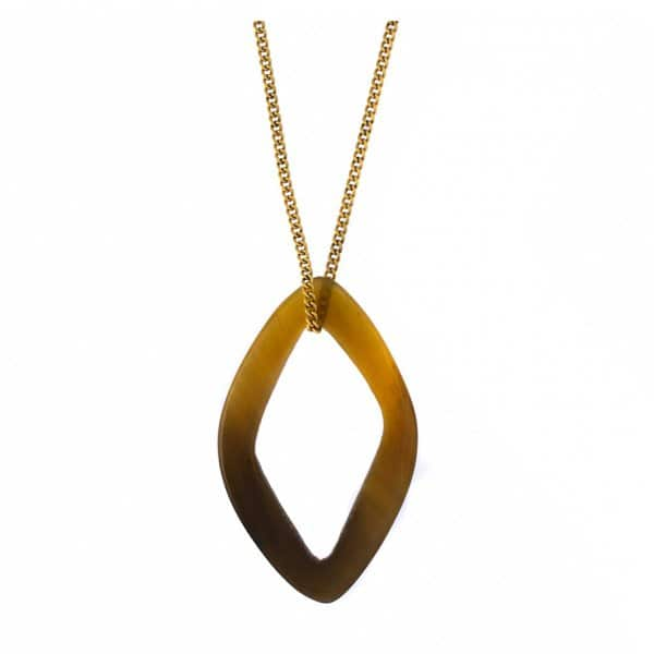 'Safari' Gold Necklace with brown rhombus shaped horn pendant. By Hultquist of Copenhagen