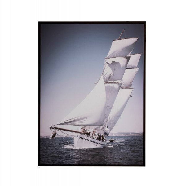 Sailing Boat Print on Canvas, presented in Blue & White, framed. From J-Line by JOLIPA.
