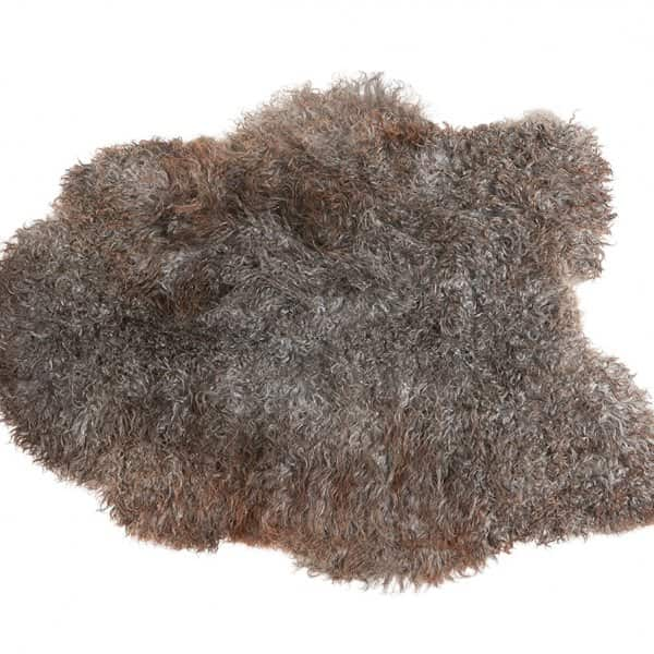 'Sanda' 100% Long-Haired Sheepskin in Natural Grey. By Shepherd of Sweden