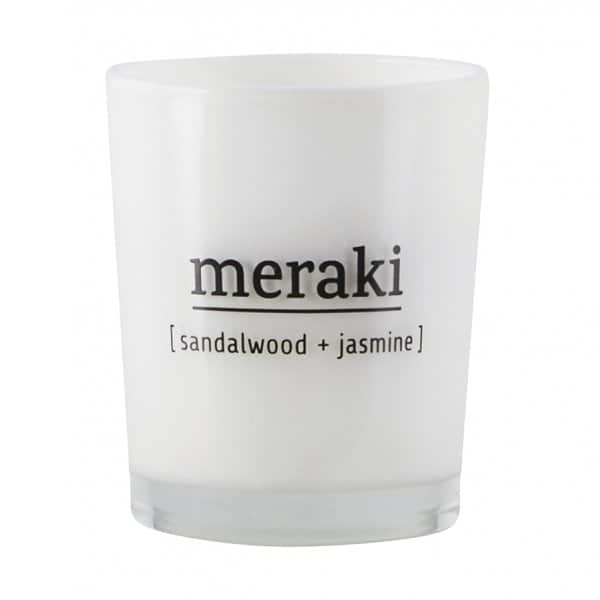 'Sandalwood & Jasmin' Scented Candle, in coloured Glass, and presented in a branded Tin. By Meraki of Denmark