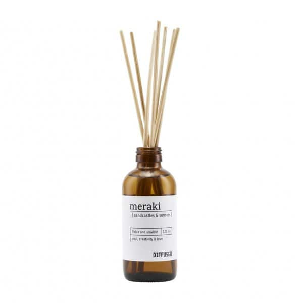 'Sandcastles & Sunsets' Diffuser, with 7 Scent Sticks, presented in a brand glass bottle. Meraki by Society of Lifestyle