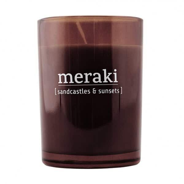 'Sandcastles & Sunsets' Scented Candle, in coloured Glass, and presented in a branded Tin. By Meraki of Denmark
