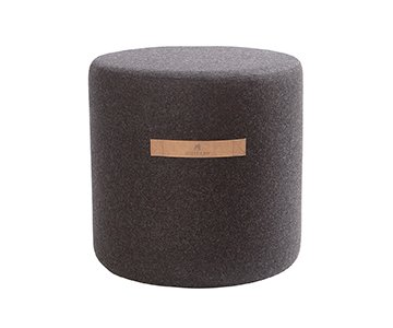 Sara Wool Pouffe, Round, made from Wool and presented in Black. By Shepherd of Sweden