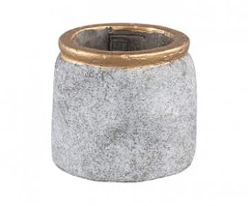 'Sasha' Grey Cement Pot with Gold border. By PTMD Collection®