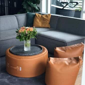 'Satellite Leather 48' Stool / Pouf
