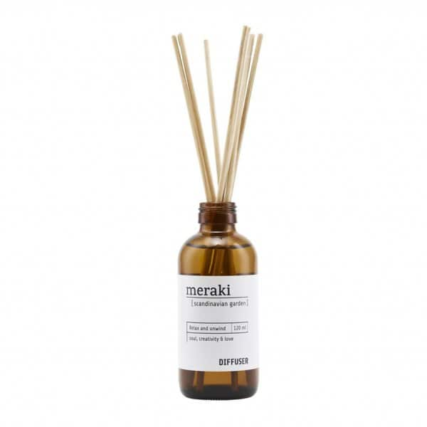 'Scandinavian Garden' Diffuser, with 7 Scent Sticks, presented in a brand glass bottle. Meraki by Society of Lifestyle
