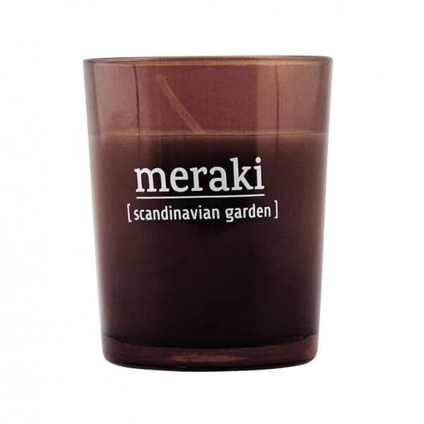 'Scandinavian Garden' Scented Candle, in coloured Glass, and presented in a branded Tin. By Meraki of Denmark