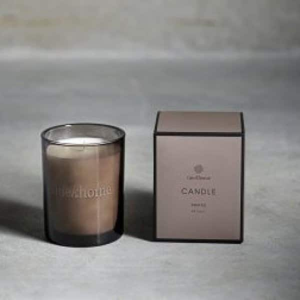 Scented Soy wax Candle in branded Smoke Glass. By Tine K of Denmark