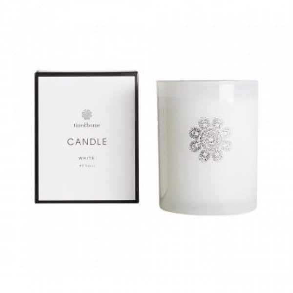 Scented Soy wax Candle in branded White Glass. By Tine K of Denmark