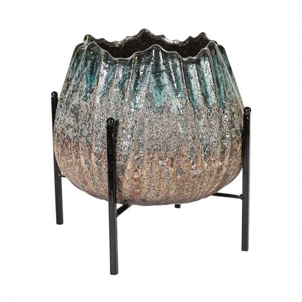 'Selena' Blue Ceramic Pot, part-Glazed, presented on a metal stand. By PTMD Collection®