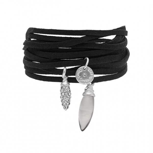 'Selma' Suede Bracelet, in Black, with a Silver Resin Stone and Glass Crystal. Bohème Chic by Dansk Copenhagen