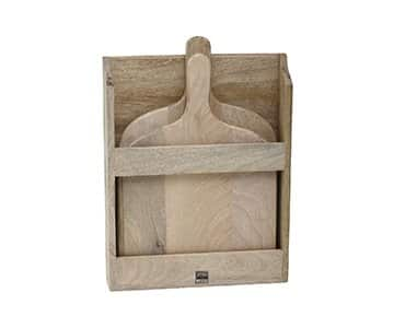 Set of 2 'Loni' Mango Wood Chopping Boards in a wall mountable Mango Wood rack. By PTMD Collection®