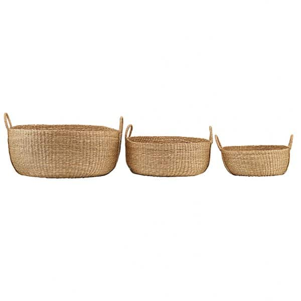 Set of 3 'Carry' Baskets, with handles, made from Seagrass. By House Doctor of Denmark