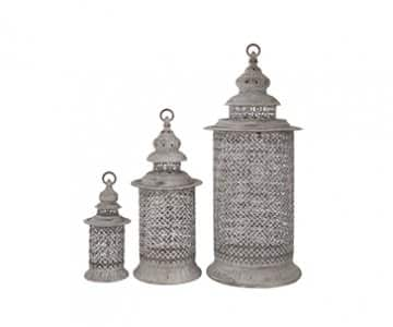 Set of 3 Rustic 'Seville' Lanterns for Candles, made from Metal, with hanging ring. By London Ornaments