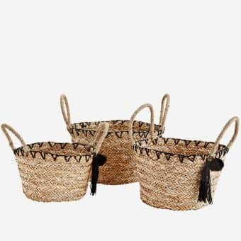 Set of 3 Wicker Baskets with Handles and a PomPom! In Natural / Black. By Madam Stoltz of Denmark