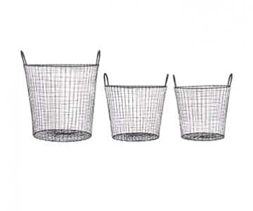 Set of 3 Wire Storage Baskets, with handles, in a stunning Black finish. By House Doctor of Denmark