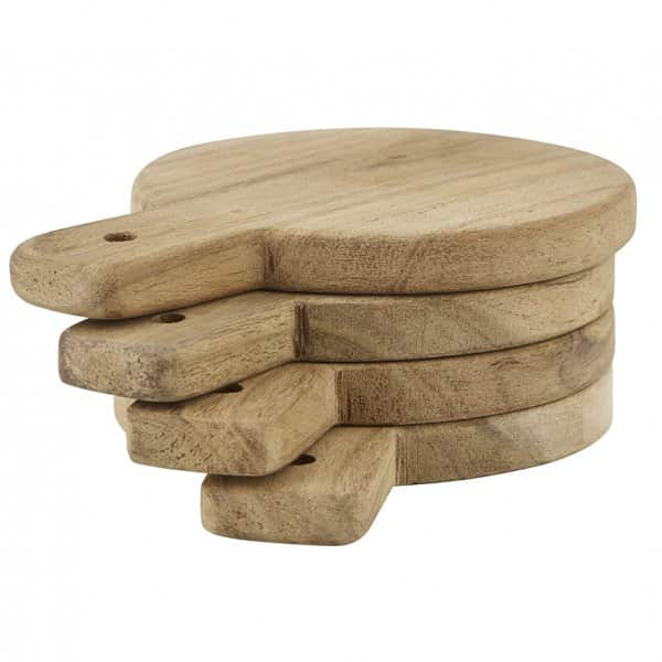 Set of 4 Acacia Wood Serving Platters / Coasters by Nicolas Vahé