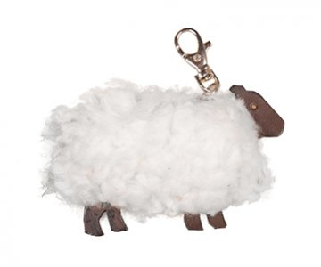 Sheep Keyrings with a trigger hook, made from Swedish Curly Sheepskin, and presented in various colours. By Owen Barry