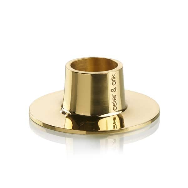 'Shiny Brass' Taper Candleholder made from solid Bronze. By Ester & Erik of Denmark