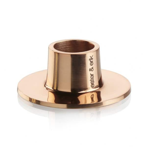 'Shiny Copper' Taper Candleholder made from solid Bronze. By Ester & Erik of Denmark