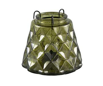 'Shiny' Dark Green Glass Vase with integrated Tea Light Holder. By PTMD Collection®