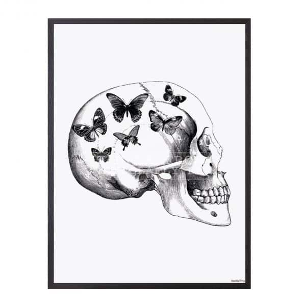 'Skull with Butterfly' Art Print, mounted in a Black frame, by Vanilla Fly of Denmark