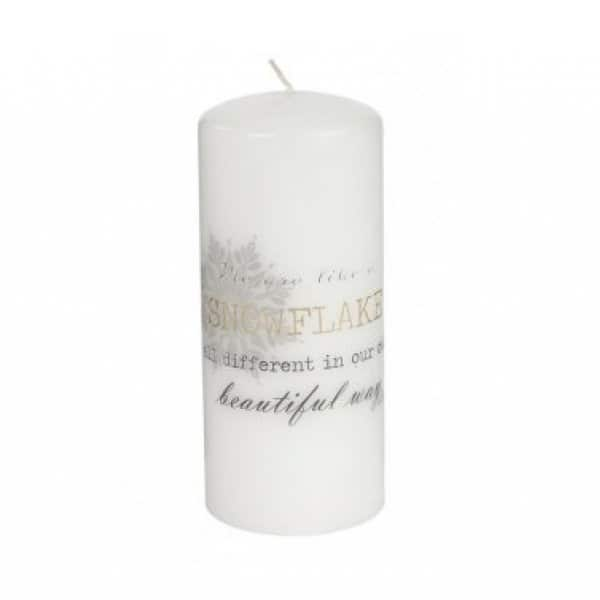 'Snowflake' Christmas message Pillar Candle in White. By Lene Bjerre of Denmark