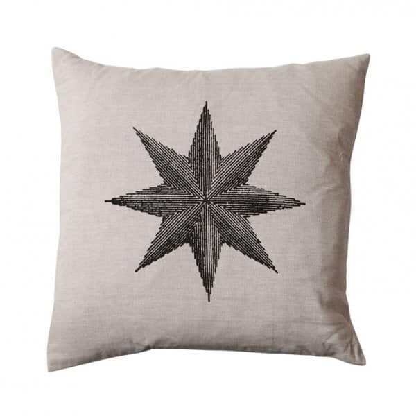 'Sophie' Cushion in Off-White with Star print, with duck feather filling, by Vanilla Fly of Denmark