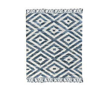 'Soraya' Rug, made from recycled fabrics, and presented in Bleu (Blue). By The Rug Republic